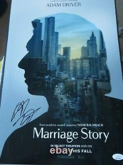 Adam Driver Signed Marriage Story 12x18 Movie Poster Jsa Authenticated