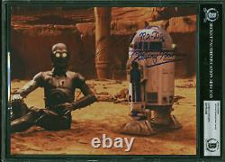 Anthony Daniels & Kenny Baker Star Wars Authentic Signed 8x10 Photo BAS Slabbed