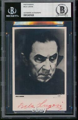 Bela Lugosi Dracula Authentic Signed 3.25x5 Black & White Photo BAS Slabbed