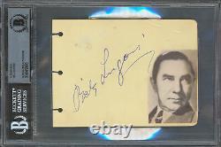Bela Lugosi Dracula Authentic Signed 4.35x6 Album Page Autographed BAS Slabbed