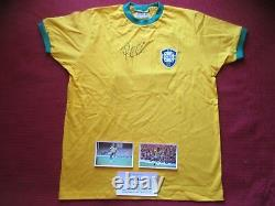 Brazil Pele Authentic Hand Signed Retro 1970 World Cup Shirt Jersey -photo Proof