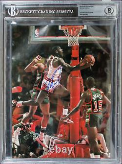 Bulls Michael Jordan Authentic Signed 8x11 Magazine Page Photo BAS Slabbed