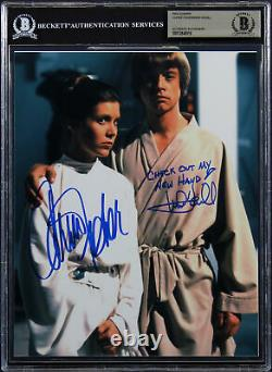 Carrie Fisher & Mark Hamill Authentic Signed 8x10 Photo Auto Graded 9! BAS Slab