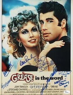 GREASE Cast x7 Authentic Hand-Signed John Travolta 11x14 Photo (JSA COA)