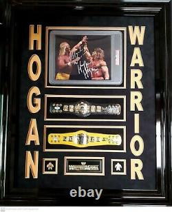 Hulk Hogan & The Ultimate Warrior Signed Framed Belts & Photo PSA Authenticated