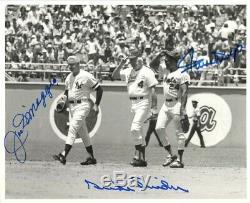 Joe DiMaggio Willie Mays Duke Snider Signed 8x10 PSA/DNA Authenticated Auto
