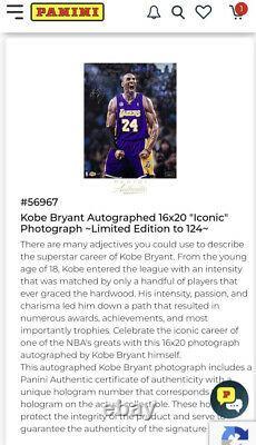 Kobe Bryant Autographed 16x20 Iconic Photo Panini Authentic Auto Signed 20/124