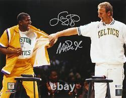 Magic Johnson & Larry Bird Authentic Signed 11x14 Retirement Photo BAS Witnessed