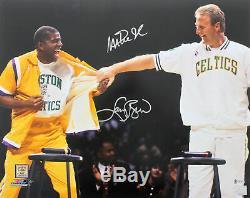 Magic Johnson & Larry Bird Authentic Signed 16x20 Retirement Photo BAS Witness 1