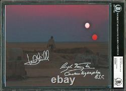 Mark Hamill & Gilbert Taylor Star Wars Authentic Signed 8x10 Photo BAS Slabbed