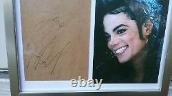 Michael Jackson Authentic Autographed Signed Paper Envelope Color Photo in Frame