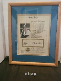Mickey Mantle Signed 8x10 Lifetime Stat Sheet Print 13x15 Coa