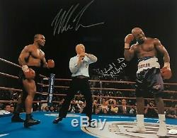 Mike Tyson & Evander Holyfield Signed Autographed 16x20 Photo JSA Authentic 1