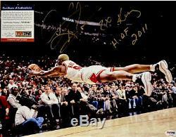 NBA BULLS DENNIS RODMAN 11x14 DIVING SIGNED INSCRIBED HOF AUTHENTIC PSA DNA COA