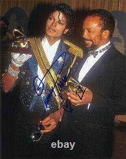 QUINCY JONES Authentic Hand-Signed with MICHAEL JACKSON GRAMMYS 8x10 Photo