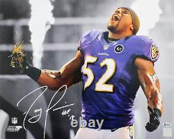 Ravens Ray Lewis HOF 18 Authentic Signed 16x20 Photo Spotlight BAS Witnessed
