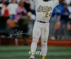 Rickey Henderson Autographed 16x20 With Base White JSA W Authenticated