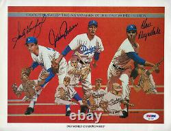 Signed Dodgers Union 76 1965 Sandy Koufax Drysdale Podres PSA DNA AUTHENTIC