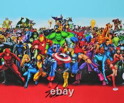 Stan Lee Authentic Signed 20x24 Marvel Universe Cast Canvas PSA/DNA #W18587