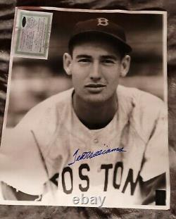 Ted williams autographed 16 X 20 Baseball Photo. Authenticated by Green diamond