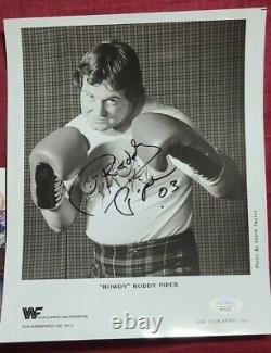 WWE WWF Rowdy Roddy Piper Autographed Promo In Boxing Gloves. JSA Authenticated
