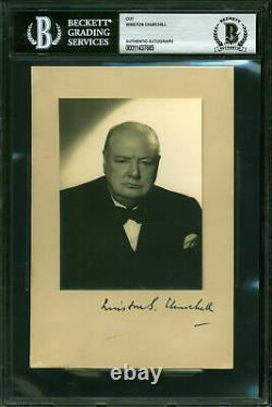 Winston Churchill Authentic Signed Mounted 4.5x6.75 Photo BAS Slabbed