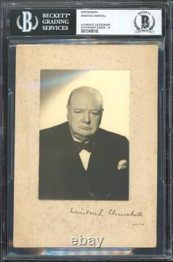 Winston Churchill Authentic Signed Mounted 5x7 Photo Auto Graded 10! BAS Slabbed