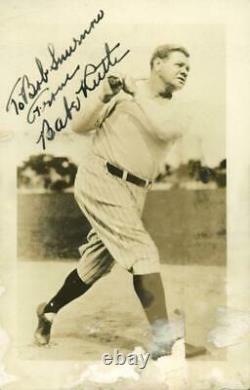 Yankees Babe Ruth Authentic Signed 3.75X5.75 Photo Swinging The Bat PSA #M86121