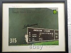 16x20 Art Encadrement De Ted Williams Imprimer Green Monster, Dédicacées, Authenticated