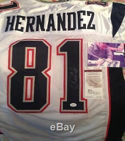 Aaron Hernandez Autographié Signé Jersey -jsa Authentique! Avec La Signature Image