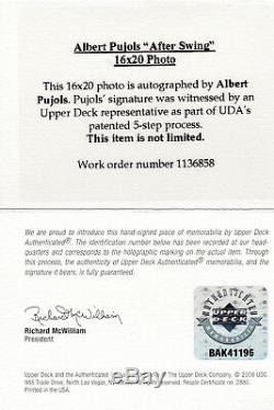 Albert Pujols Signé Upper Deck Assermentée Uda 16x20 Photo Encadrée Superbes