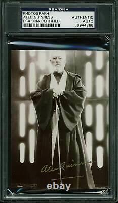 Alec Guinness Star Wars Authentic Signé 3.5x5 Obi Wan Kenobi Photo Psa Slabbed