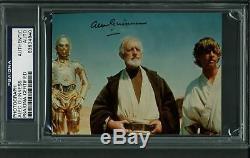 Alec Guinness Star Wars Authentique Signé 3.5x4 7/8 Photo Psa / Adn Slabbed