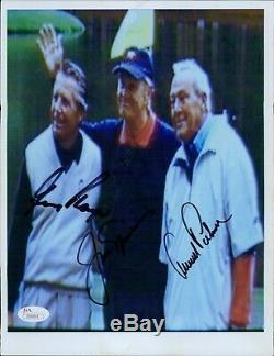 Arnold Palmer, Gary Player, Jack Nicklaus Signature Photo 8x10 Jsa Assermentée