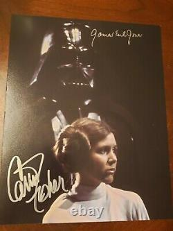 Authentique Signé Star Wars Carrie Fisher / James Earl Jones Opx 8x10 Photo