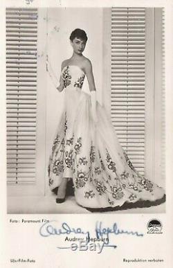 Autographe Hepburn Audrey Signée Carte Postale Vintage Roman Holiday 1953