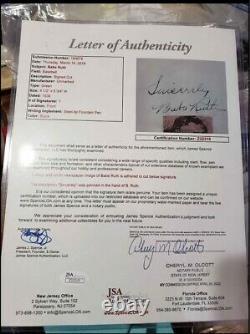Babe Ruth Autographié Jsa Certifié Feuille Authentique Avec Photo