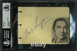 Bela Lugosi Dracula Authentique Signé 4.35x6 Page D'album Autographié Bas Slabbed
