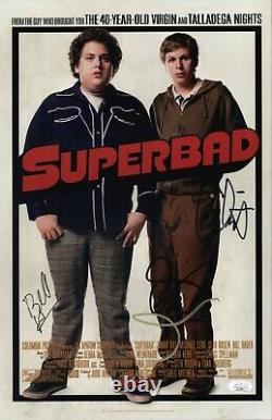 Bill Hader Seth Rogen +2 Signé 11x17 Superbad Authentic Autograph Jsa Coa
