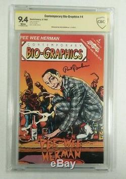 Bio-graphics # 4 Pee Wee Herman Signé Authentique Comic Book Cgc Cbcs 9.4 Graded