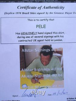 Brésil Pele Authentic Hand Signed Retro 1970 World Cup Shirt Jersey -photo Proof