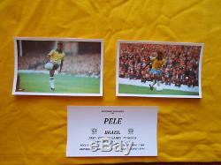 Brésil Pelé Main Authentique Signé Retro 1970 Coupe Du Monde Shirt Jersey Proof