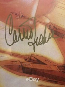 Carrie Fisher Affiche Signée 24x36 Psa Assermentée