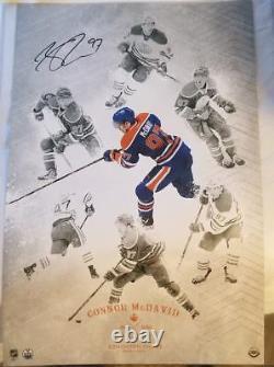 Connor Mcdavid Autographié 16x24 Uda Upper Deck On The Rise Authentifié