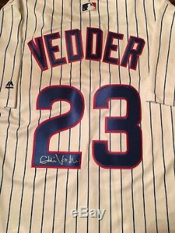 Eddie Vedder Pearl Jam Rock And Roll Hof Signé Chicago Cubs Authentique Jersey