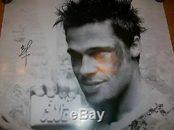 Fight Club Brad Pitt Authentique Signée À La Main 27x40 Affiche Du Film Rare