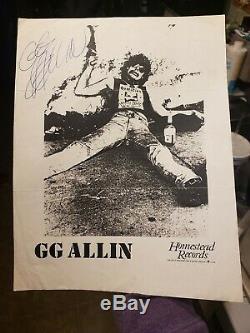 Gg Allin- Authentique Autographié 8x10 Promo Photo 1987-1988