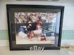 Hank Aaron Johnny Bench Autographié Framed 16x20 Photogaph Psa Assermentée