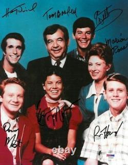 Happy Days Cast Signé Authentique Autographié 11x14 Photo (7 Sigs) Psa / Dna # Y06987