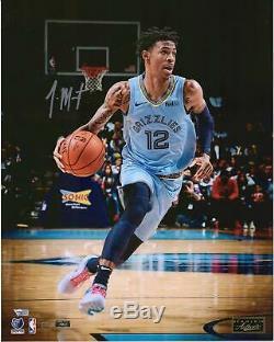 Ja Morant Memphis Grizzlies Signé 16 X 20 Logo Panini Photo Authentique